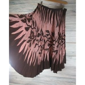 KAKTUS Embellished Pink Brown Circle Full Skirt S